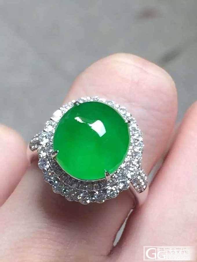 种水好的满绿起莹光翡翠戒指漂亮_戒指翡翠