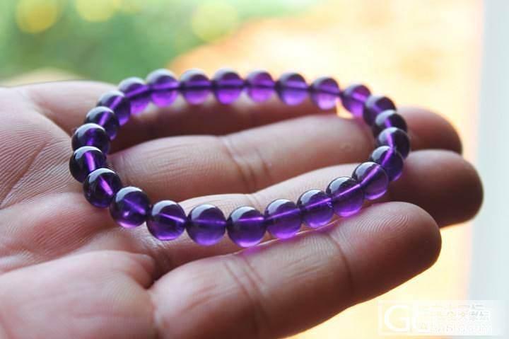 9.7特价。紫水晶手链。红纹3圈_水晶福利社